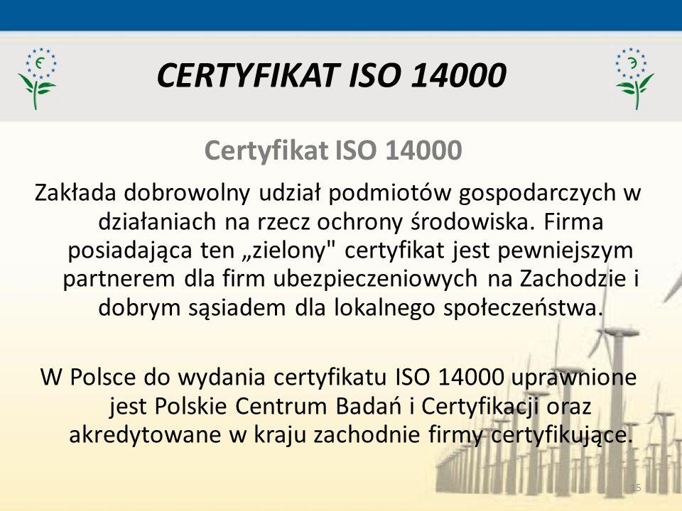 CERTYFIKAT ISO 14000 Certyfikat ISO 14000