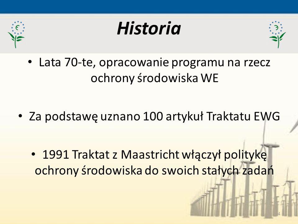 Historia Lata 70-te, opracowanie programu na rzecz ochrony środowiska WE. Za podstawę uznano 100 artykuł Traktatu EWG.