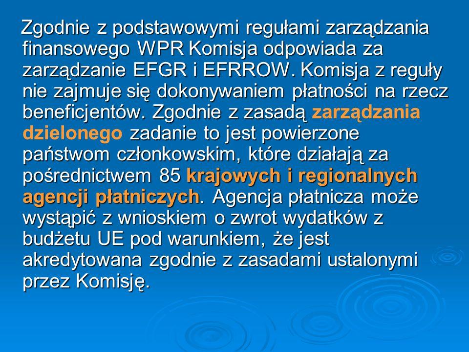 Zgodnie z podstawowymi regułami zarządzania finansowego WPR Komisja odpowiada za zarządzanie EFGR i EFRROW.