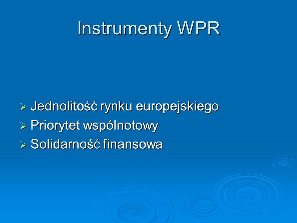 Instrumenty WPR Jednolitość rynku europejskiego Priorytet wspólnotowy