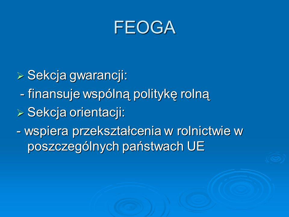 FEOGA Sekcja gwarancji: - finansuje wspólną politykę rolną