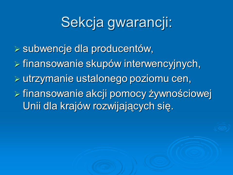 Sekcja gwarancji: subwencje dla producentów,