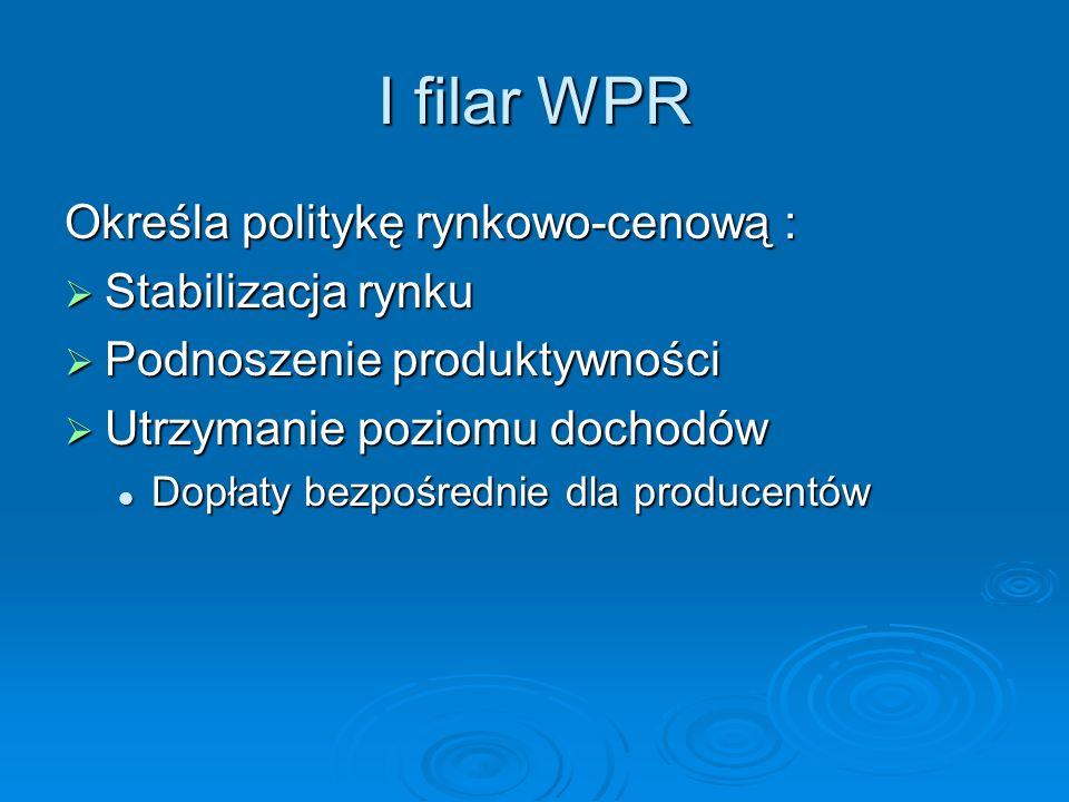 I filar WPR Określa politykę rynkowo-cenową : Stabilizacja rynku
