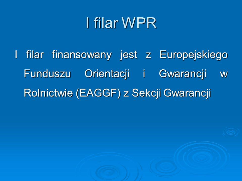 I filar WPR I filar finansowany jest z Europejskiego Funduszu Orientacji i Gwarancji w Rolnictwie (EAGGF) z Sekcji Gwarancji.