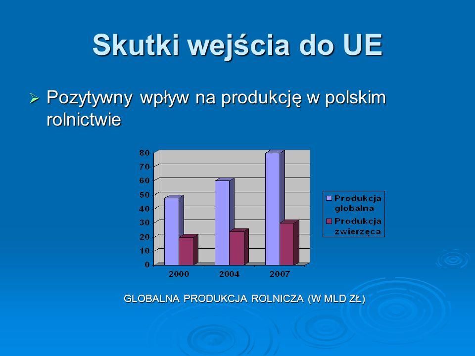 Skutki wejścia do UE Pozytywny wpływ na produkcję w polskim rolnictwie