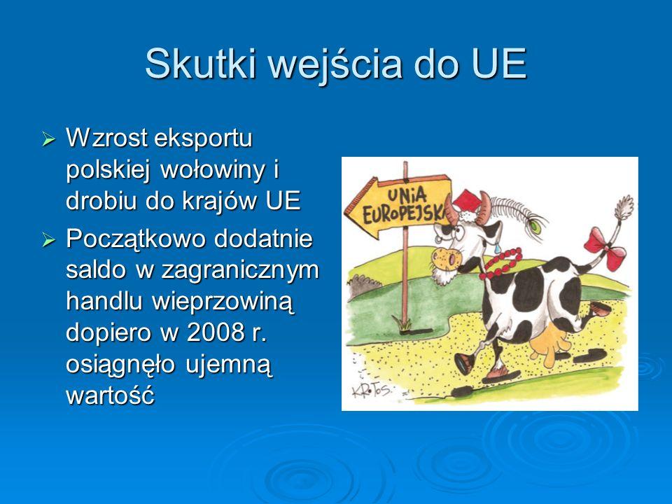 Skutki wejścia do UE Wzrost eksportu polskiej wołowiny i drobiu do krajów UE.