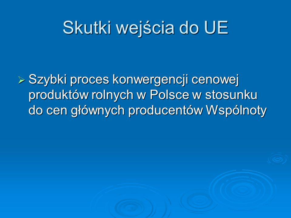 Skutki wejścia do UE Szybki proces konwergencji cenowej produktów rolnych w Polsce w stosunku do cen głównych producentów Wspólnoty.