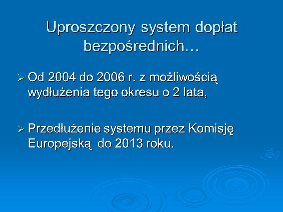 Uproszczony system dopłat bezpośrednich…