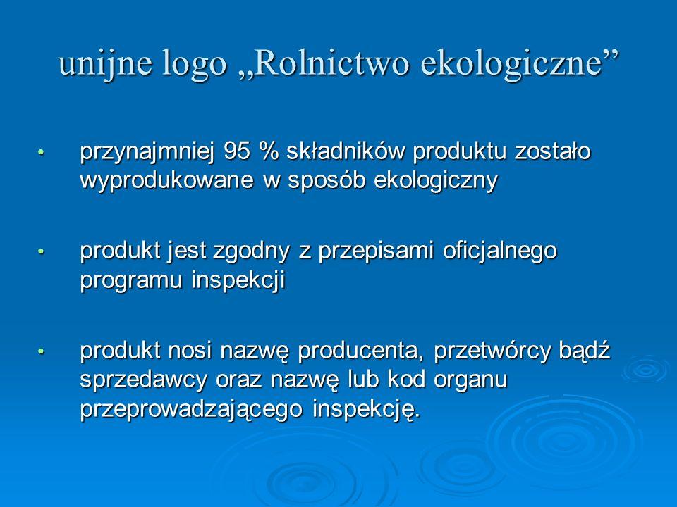 """unijne logo """"Rolnictwo ekologiczne"""