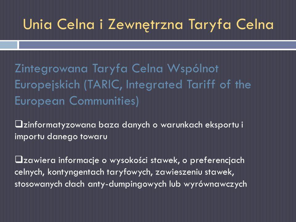 Unia Celna i Zewnętrzna Taryfa Celna