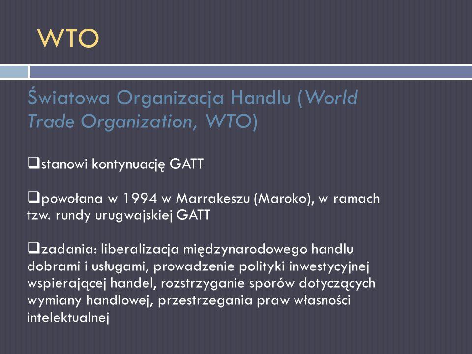 WTO Światowa Organizacja Handlu (World Trade Organization, WTO)