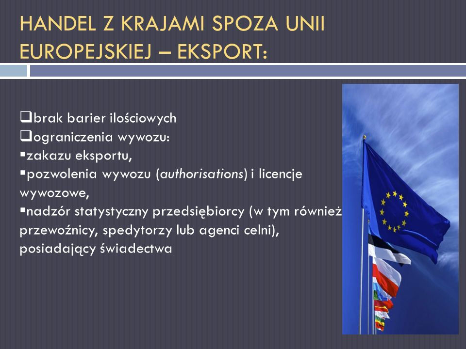 HANDEL Z KRAJAMI SPOZA UNII EUROPEJSKIEJ – EKSPORT:
