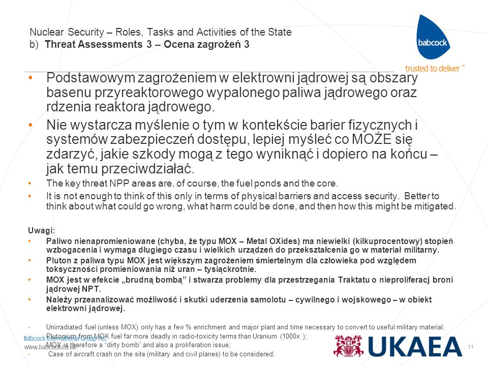 Nuclear Security – Roles, Tasks and Activities of the State b) Threat Assessments 3 – Ocena zagrożeń 3