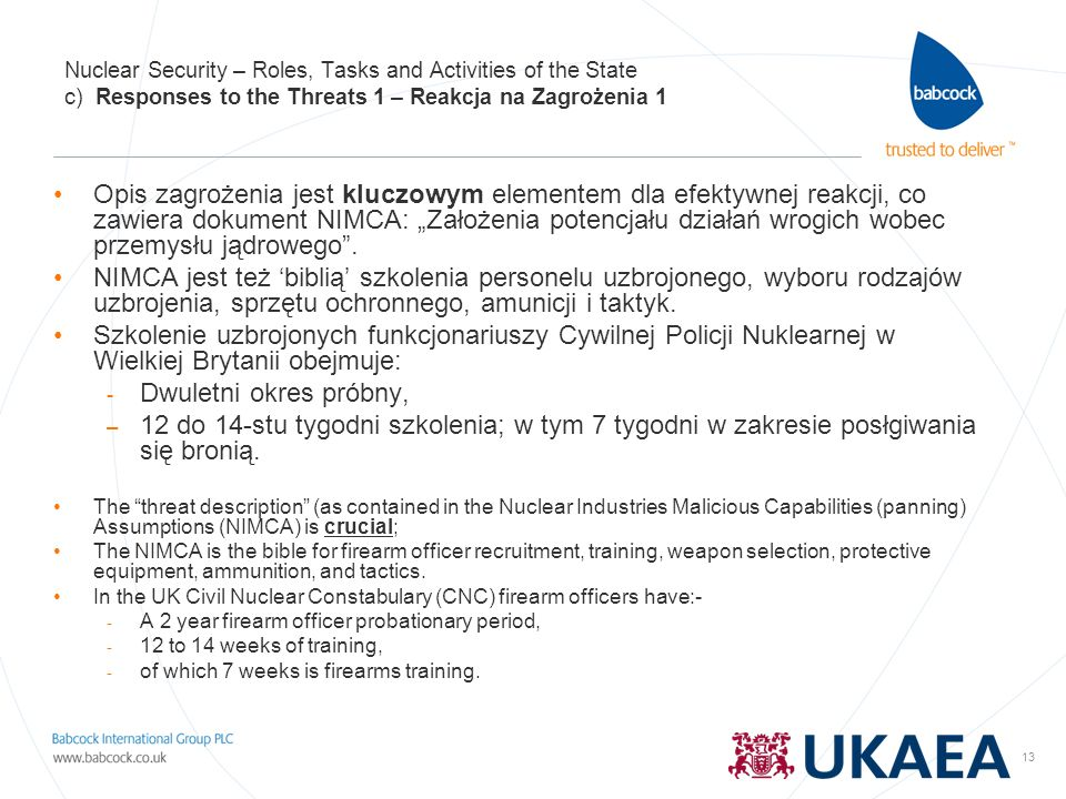 Nuclear Security – Roles, Tasks and Activities of the State c) Responses to the Threats 1 – Reakcja na Zagrożenia 1