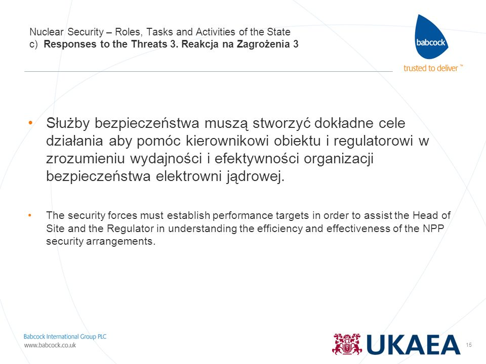 Nuclear Security – Roles, Tasks and Activities of the State c) Responses to the Threats 3. Reakcja na Zagrożenia 3