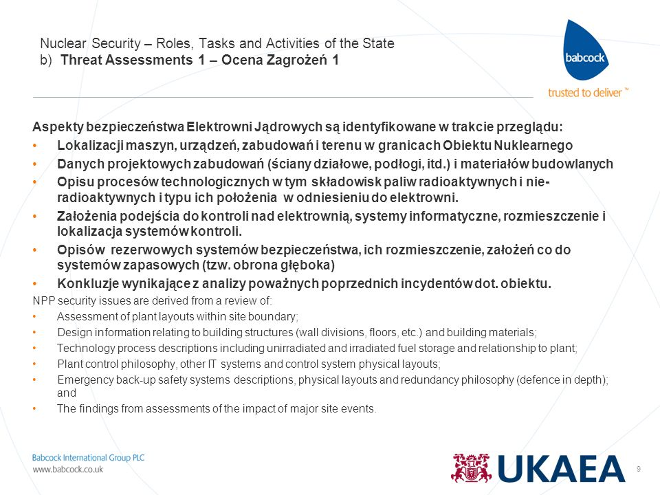 Nuclear Security – Roles, Tasks and Activities of the State b) Threat Assessments 1 – Ocena Zagrożeń 1