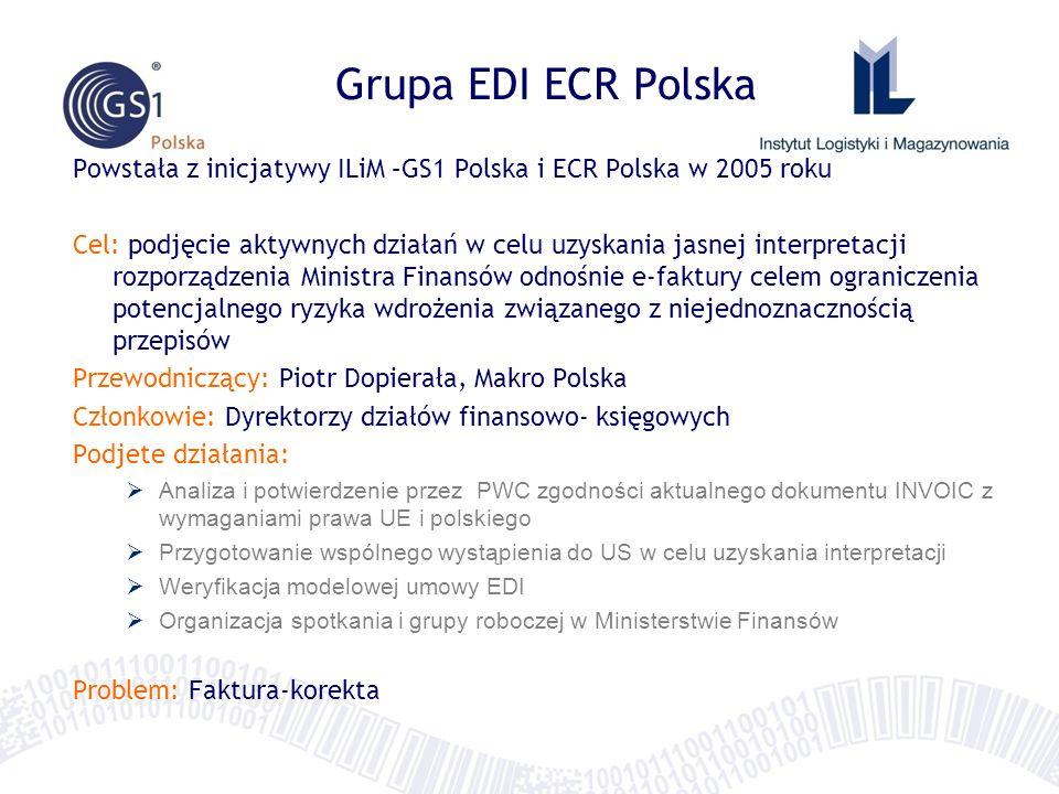 Grupa EDI ECR Polska Powstała z inicjatywy ILiM –GS1 Polska i ECR Polska w 2005 roku.