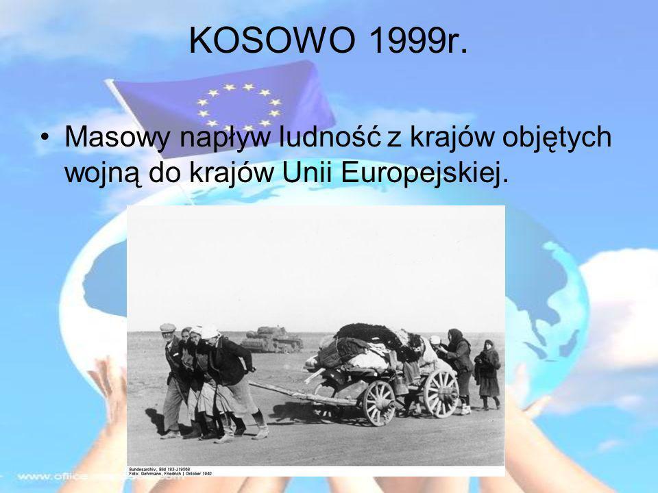 KOSOWO 1999r. Masowy napływ ludność z krajów objętych wojną do krajów Unii Europejskiej.