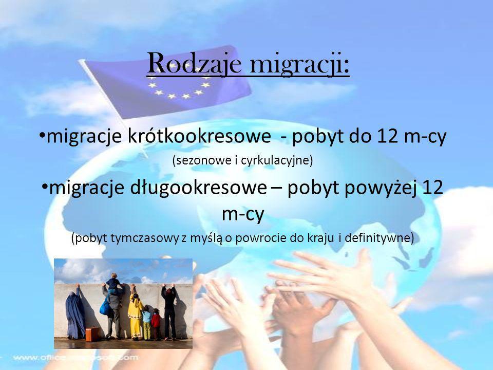 Rodzaje migracji: migracje krótkookresowe - pobyt do 12 m-cy