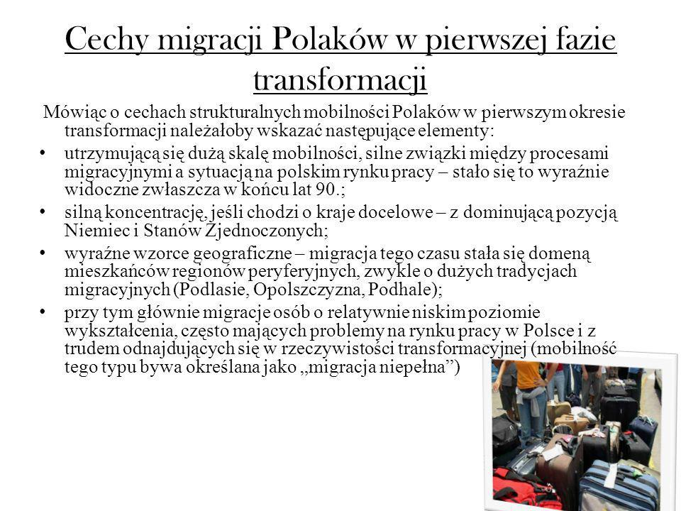 Cechy migracji Polaków w pierwszej fazie transformacji