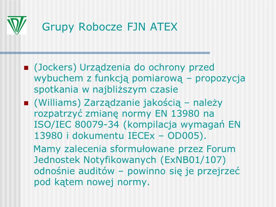 Grupy Robocze FJN ATEX (Jockers) Urządzenia do ochrony przed wybuchem z funkcją pomiarową – propozycja spotkania w najbliższym czasie.