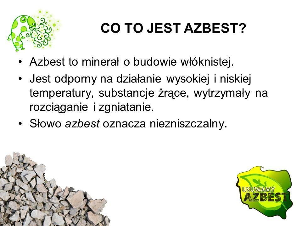CO TO JEST AZBEST Azbest to minerał o budowie włóknistej.