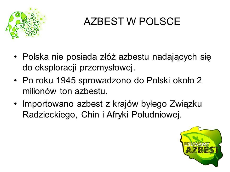 AZBEST W POLSCE Polska nie posiada złóż azbestu nadających się do eksploracji przemysłowej.
