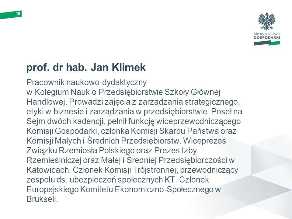 18prof. dr hab. Jan Klimek.