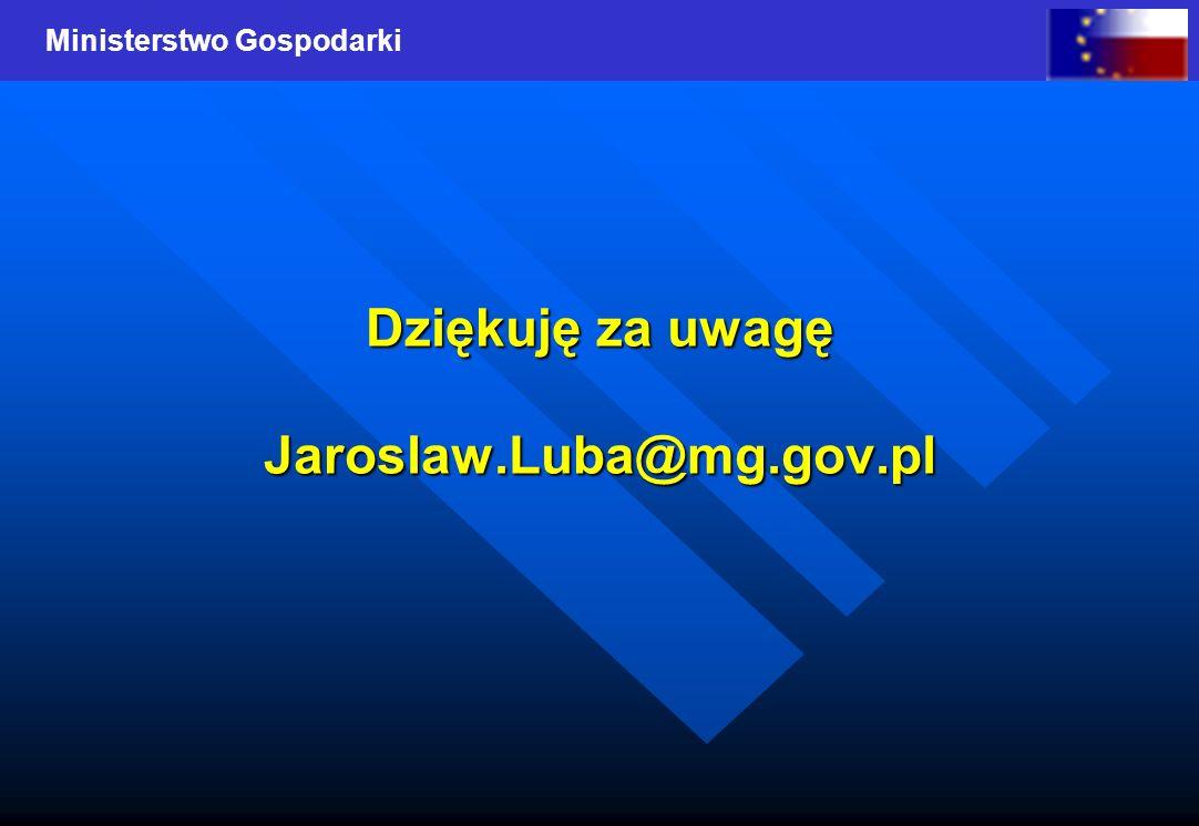 Dziękuję za uwagę Jaroslaw.Luba@mg.gov.pl