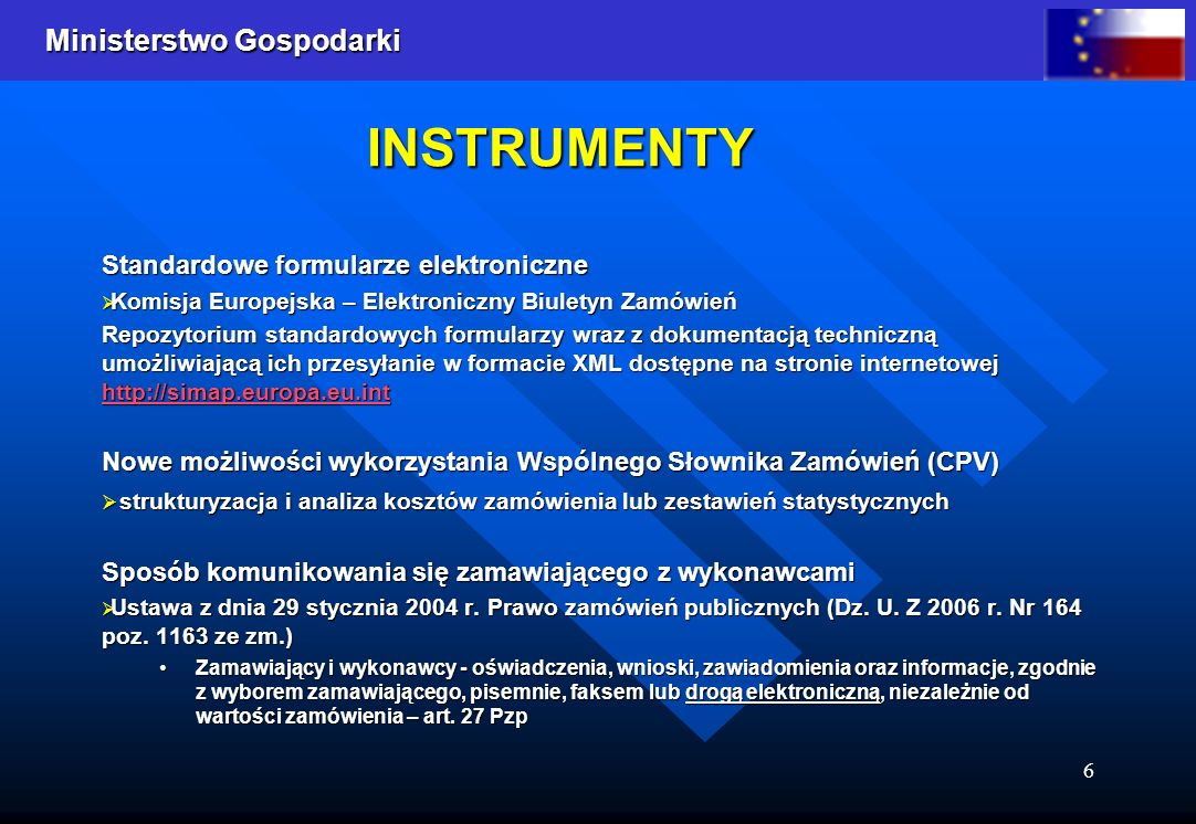 INSTRUMENTY Standardowe formularze elektroniczne