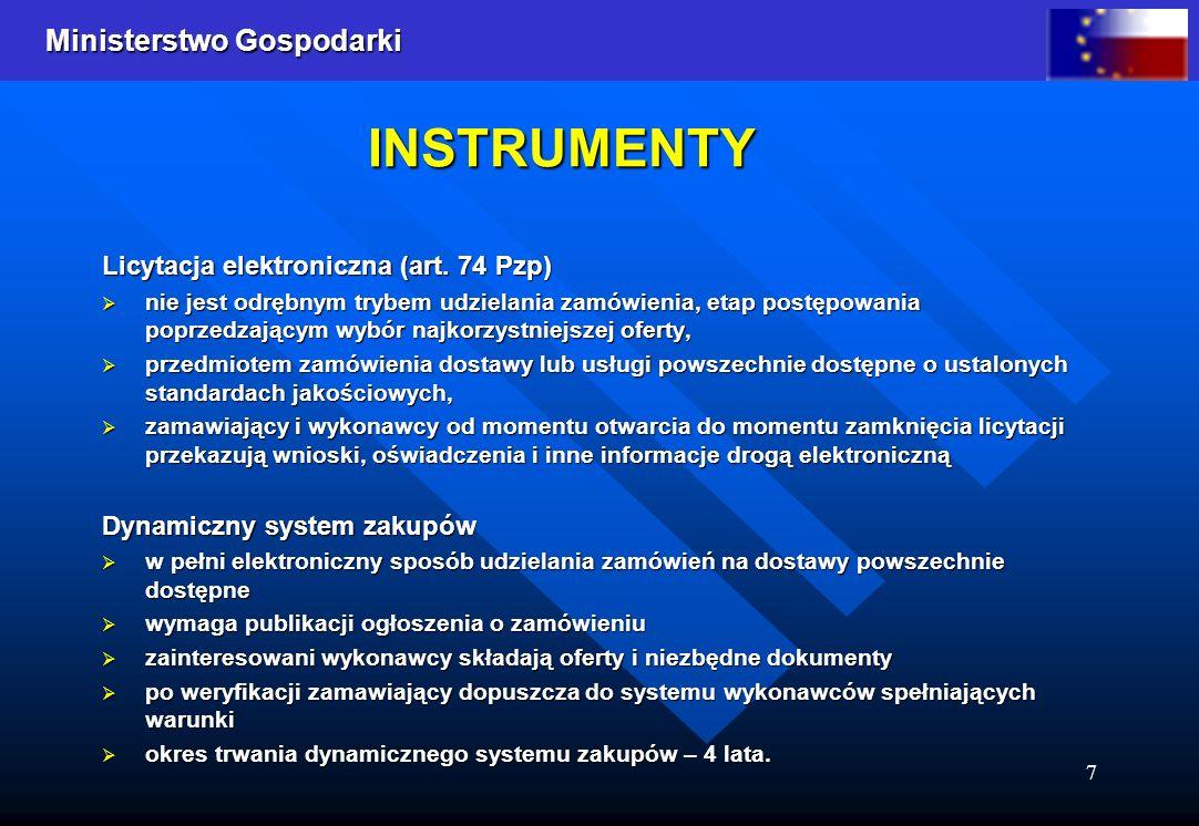 INSTRUMENTY Licytacja elektroniczna (art. 74 Pzp)
