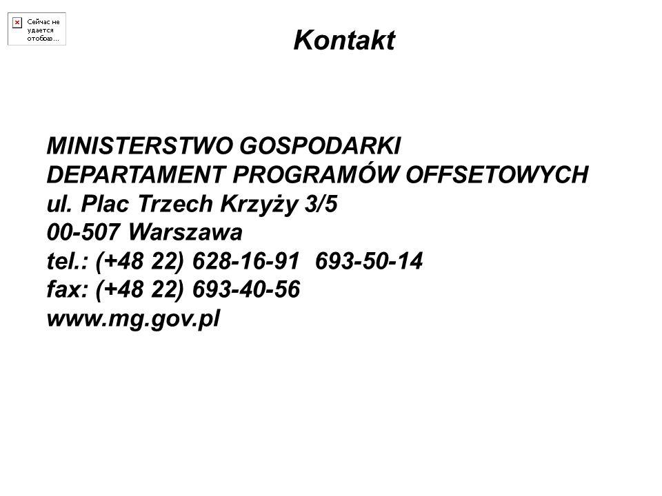 Kontakt MINISTERSTWO GOSPODARKI DEPARTAMENT PROGRAMÓW OFFSETOWYCH