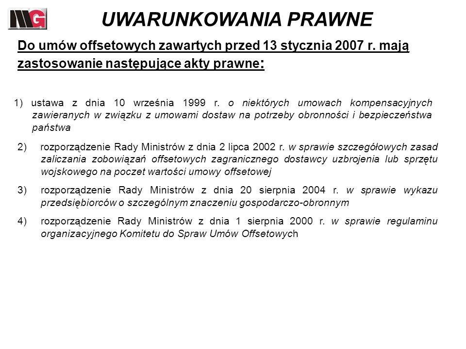 nagłówek UWARUNKOWANIA PRAWNE. Do umów offsetowych zawartych przed 13 stycznia 2007 r. mają zastosowanie następujące akty prawne: