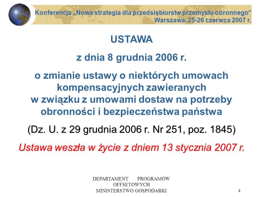 Ustawa weszła w życie z dniem 13 stycznia 2007 r.