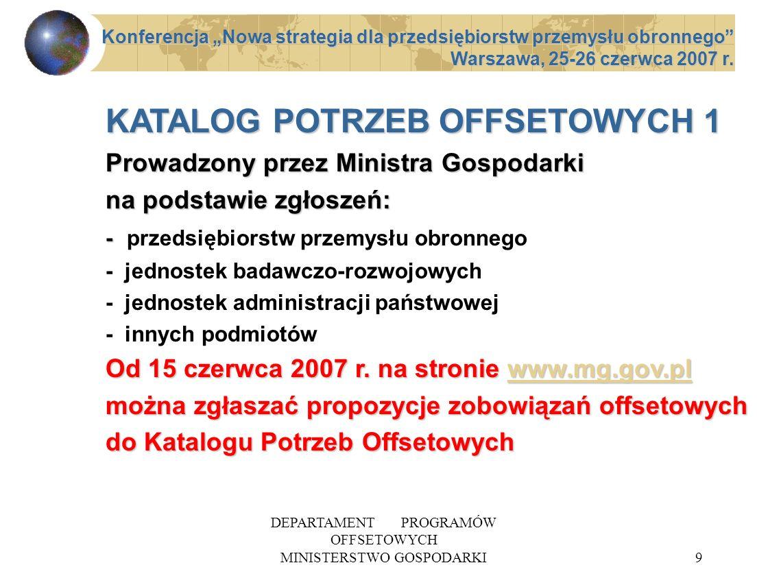 DEPARTAMENT PROGRAMÓW OFFSETOWYCH MINISTERSTWO GOSPODARKI