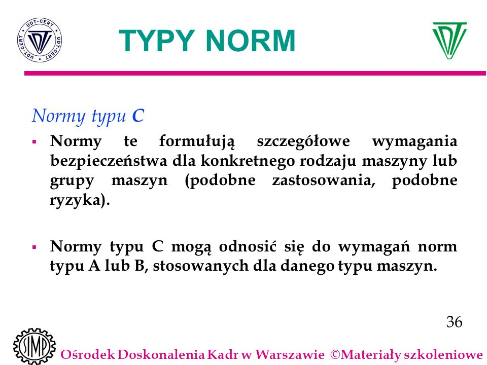 TYPY NORM Normy typu C.