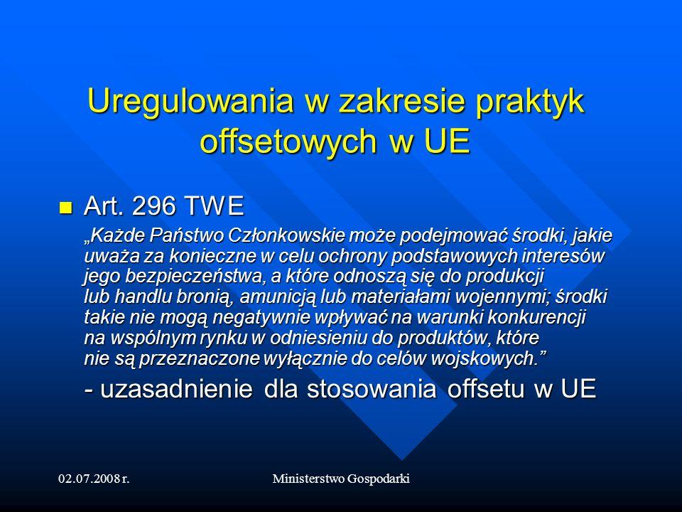 Uregulowania w zakresie praktyk offsetowych w UE