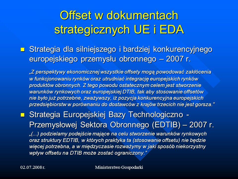 Offset w dokumentach strategicznych UE i EDA