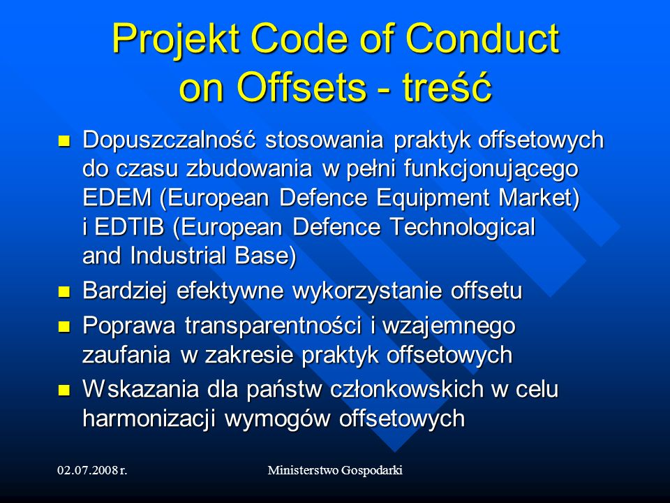 Projekt Code of Conduct on Offsets - treść