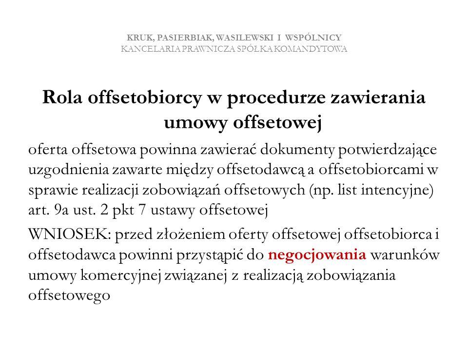 Rola offsetobiorcy w procedurze zawierania umowy offsetowej
