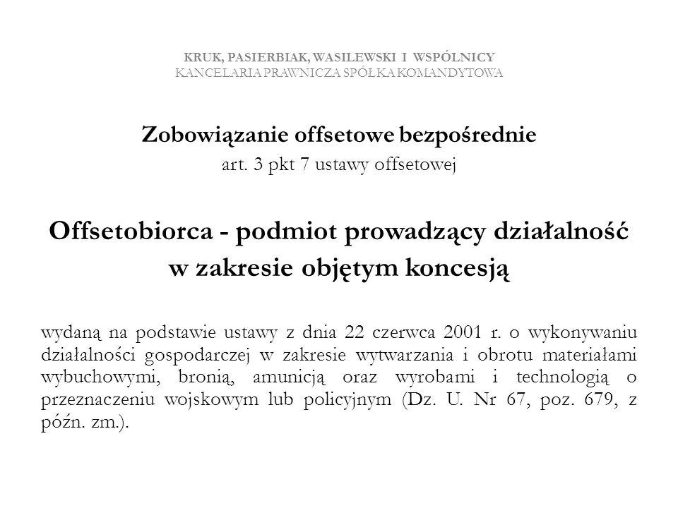 Offsetobiorca - podmiot prowadzący działalność