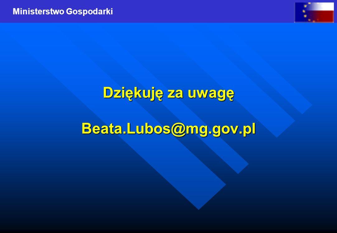 Dziękuję za uwagę Beata.Lubos@mg.gov.pl