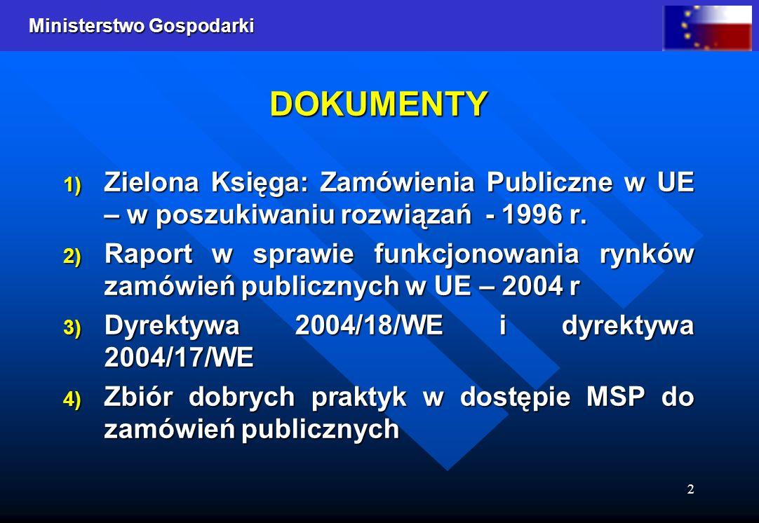 DOKUMENTY Zielona Księga: Zamówienia Publiczne w UE – w poszukiwaniu rozwiązań - 1996 r.