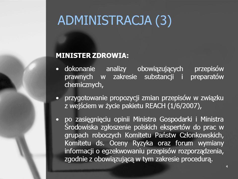 ADMINISTRACJA (3) MINISTER ZDROWIA: