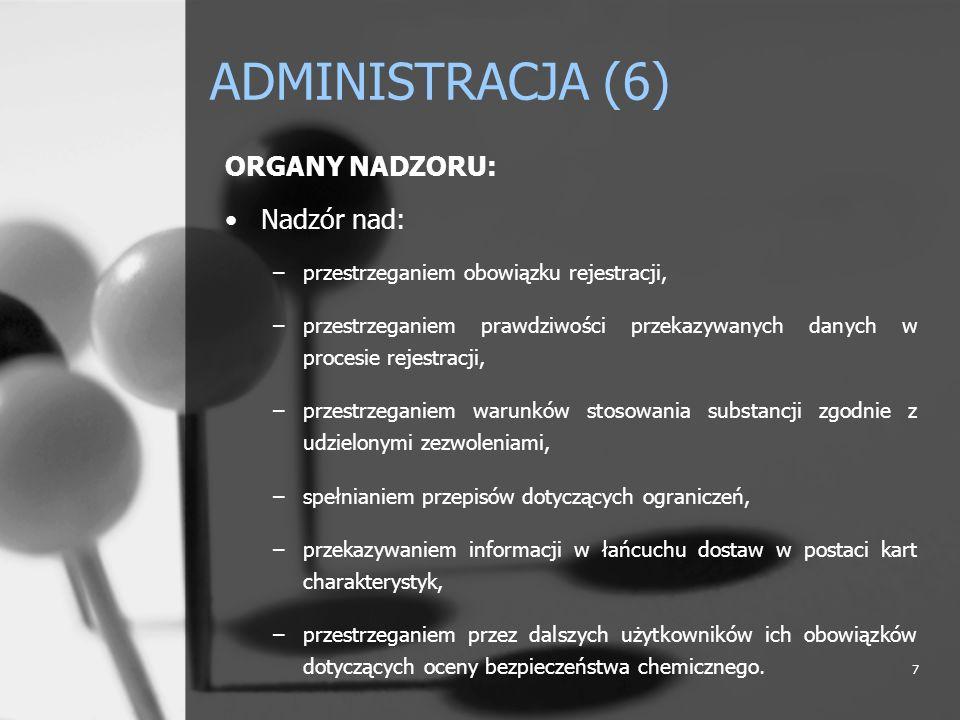 ADMINISTRACJA (6) ORGANY NADZORU: Nadzór nad: