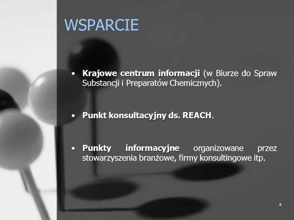 WSPARCIE Krajowe centrum informacji (w Biurze do Spraw Substancji i Preparatów Chemicznych). Punkt konsultacyjny ds. REACH.