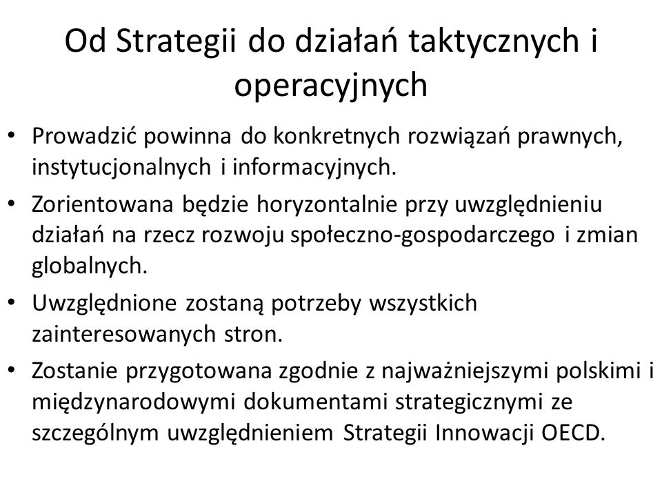 Od Strategii do działań taktycznych i operacyjnych
