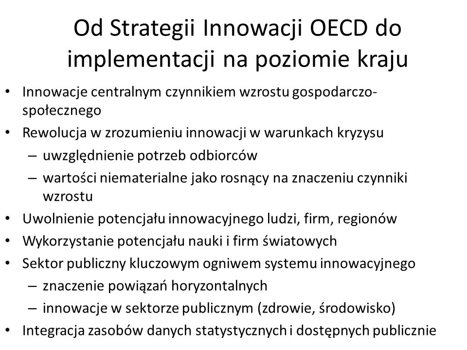 Od Strategii Innowacji OECD do implementacji na poziomie kraju