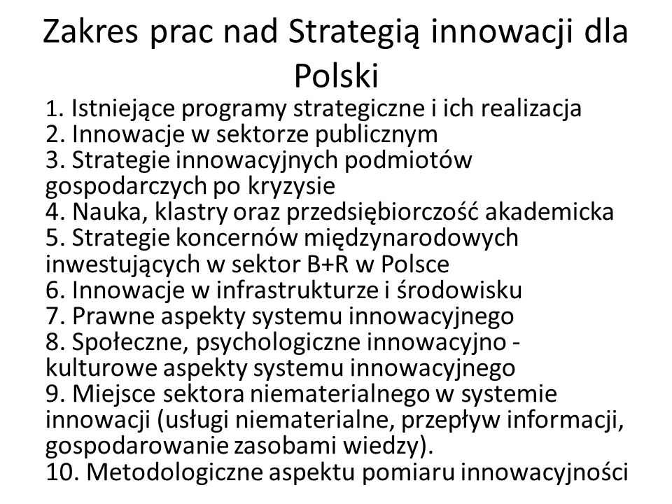 Zakres prac nad Strategią innowacji dla Polski