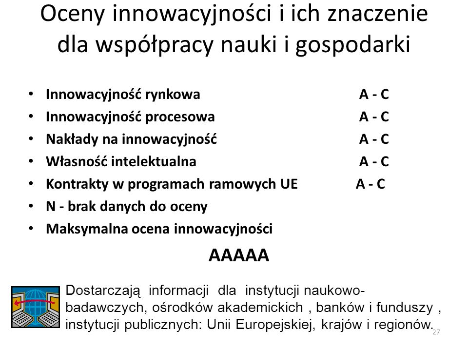 Oceny innowacyjności i ich znaczenie dla współpracy nauki i gospodarki
